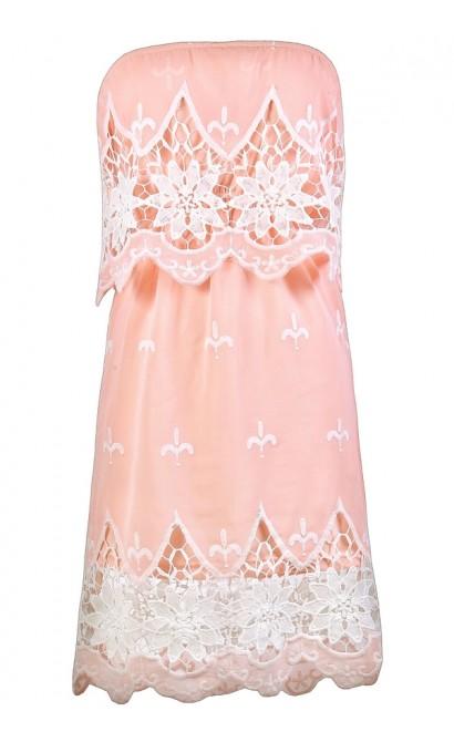Cute Pink and Ivory Dress, Pink Crochet Dress, Pink Sundress, Pink Summer Dress, Pink and Ivory Strapless Dress