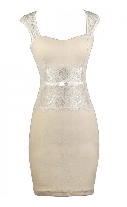 Beige Lace Dress, Beige Pencil Dress, Cute Beige Dress, Beige Rehearsal Dinner Dress, Beige Bridal Shower Dress
