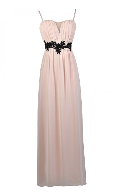 Pale Pink Maxi Dress, Pink and Black Maxi Dress, Cute Pink and Black Dress, Pink and Black Prom Dress, Cute Pink Bridesmaid Dress