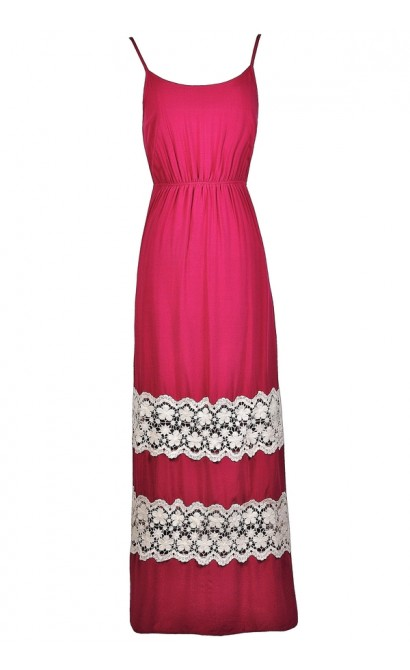 Hot Pink Crochet Lace Maxi Dress, Fuchsia Maxi Dress, Bright Pink Maxi Dress, Cute Summer maxi Dress, Pink Summer Maxi Dress, lace Trim Maxi Dress