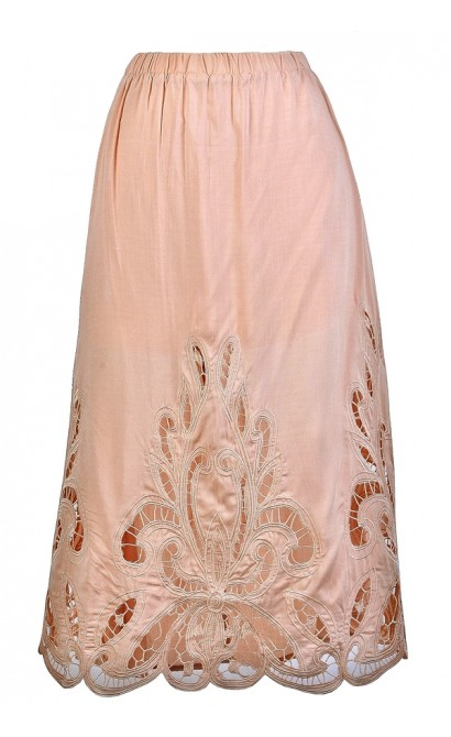 Lasercut Blush Midi Skirt, Cute Summer Skirt, Cutout Blush Pink ...