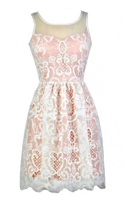 Blush Pink and Ivory Embroidered Dress, Blush Pink Sundress, Cute Blush Dress, Blush Pink Party Dress, Cute Summer Dress, Blush Pink and Ivory A-Line Dress