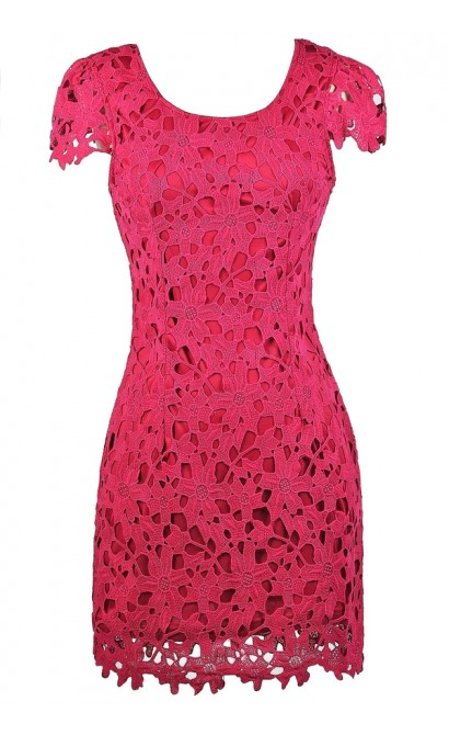 Lily Boutique Hot Pink Lace Dress- Hot Pink Dress- Cute Bright ...