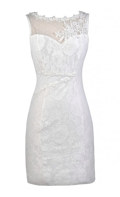 Cute White Dress, White Lace Dress, White Rehearsal Dinner Dress, White Bridal Shower Dress, White Sheath Dress, White Cocktail Dress