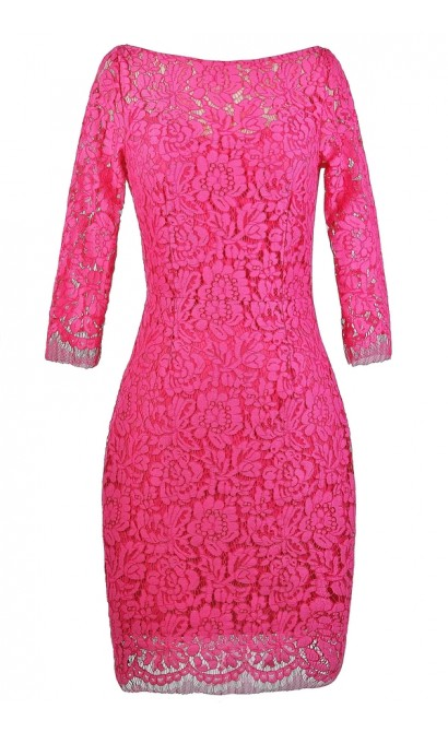 Hot Pink Lace Sheath Dress, Cute Hot Pink Dress, Hot Pink Lace ...