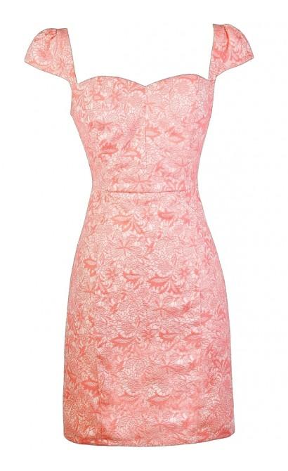 Coral Pink Pencil Dress, Cute Coral Pink Dress, Coral Pink Party Dress, Coral Pink Capsleeve Dress, Coral Pink Sheath Dress