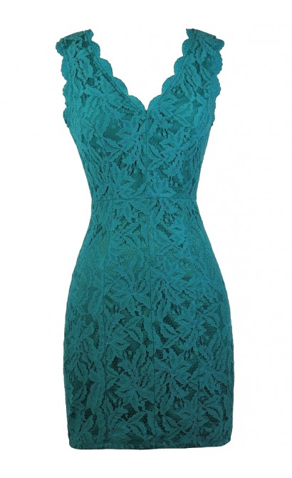 Teal Lace Party Dress, Cute Teal Dress, Teal Lace Pencil Dress, Turquoise Lace Dress