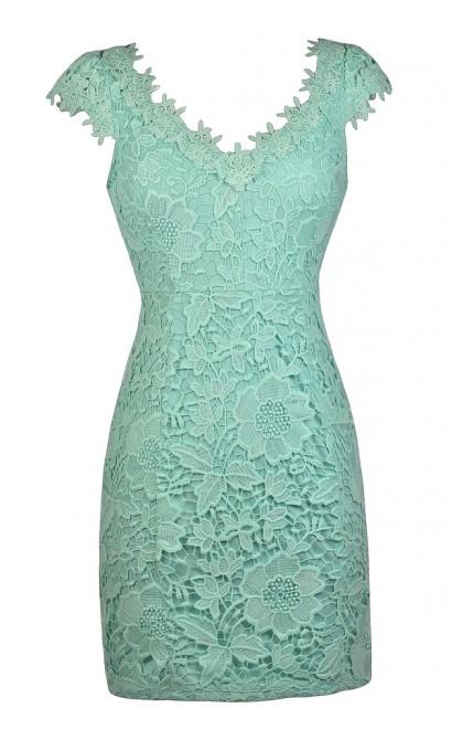 Cute Mint Dress, Mint Lace Dress, Mint Capsleeve Lace Dress, Cute Summer Dress
