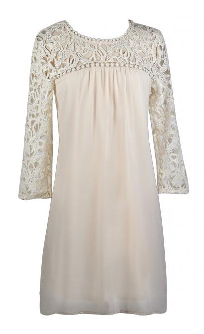 Cute Beige Dress, Beige Lace Dress, Flowy Beige Dress, Cute Fall Dress