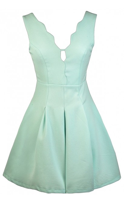 Mint Party Dress, Mint A-line Dress, Scalloped Mint Dress, Mint Sundress, Cute Summer Dress
