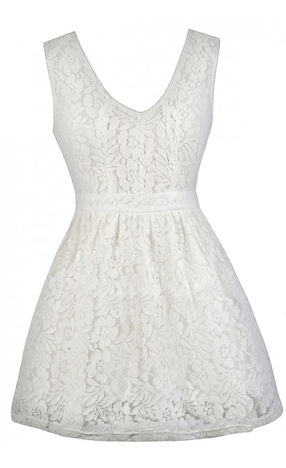 White Lace Dress, Cute White Dress, White Sundress, White A-Line Lace Dress, White Party Dress