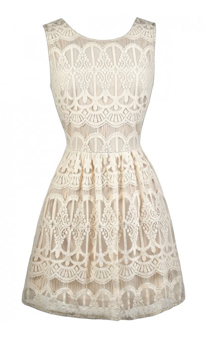 Cute Beige Dress, Beige Lace Dress, Beige Lace A-Line Dress, Beige Lace Sundress, Cute Summer Dress