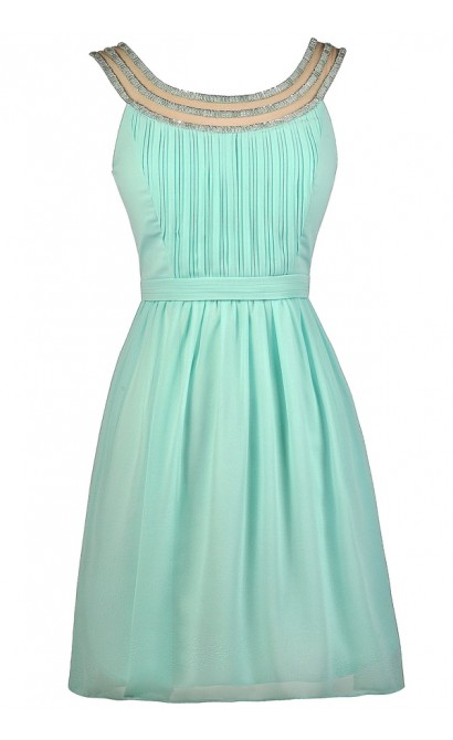 Cute Mint Dress, Mint Party Dress, Mint Cocktail Dress, Mint Embellished Dress