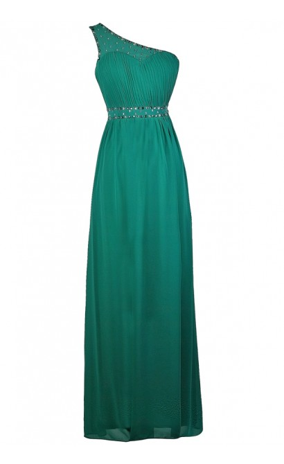 Teal One Shoulder Maxi Dress, Teal Prom Dress, Cute Maxi Dress, Embellished Teal Dress
