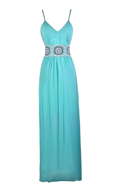 Aqua Maxi Dress, Cute Maxi Dress, Summer Maxi Dress, Boho Maxi Dress