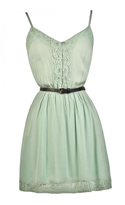 Cute Mint Dress, Belted Mint Sundress, Cute Country Dress