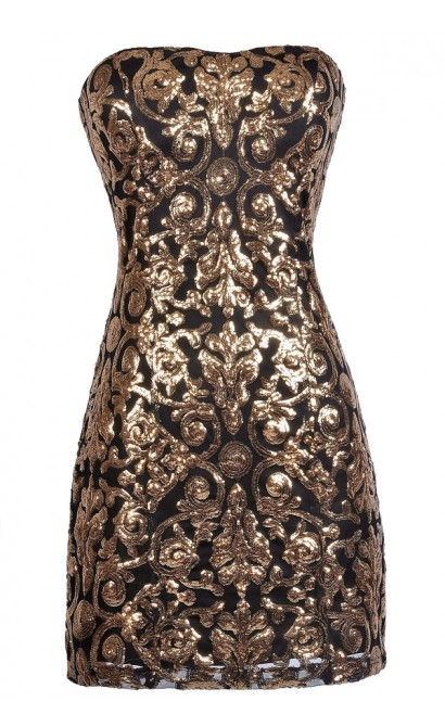 Black and Gold Sequin Party Dress, Cute New Years Dress, Sequin Cocktail Dress