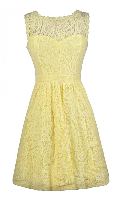 Yellow Lace Dress, Yellow Lace A-Line Dress, Yellow Lace Bridesmaid Dress, Yellow Party Dress