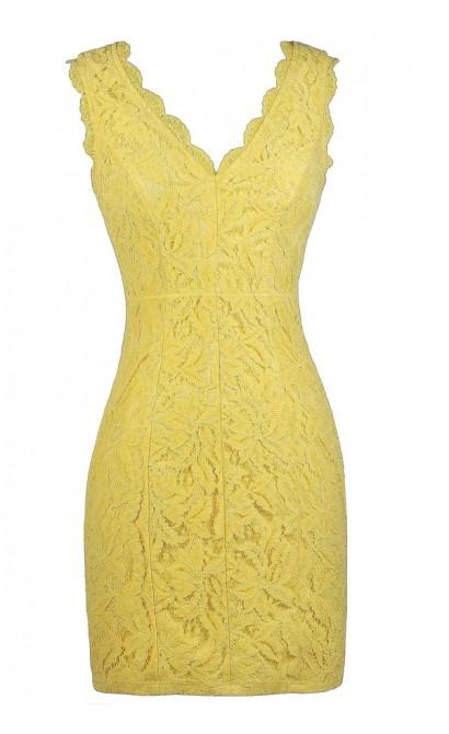 Yellow Lace Dress, Yellow Lace Party Dress, Yellow Lace Cocktail Dress