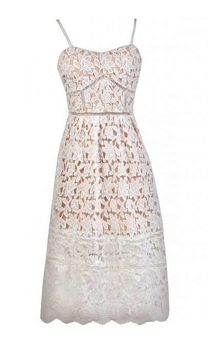 140c7453f6c4 White and Beige Lace Midi Dress