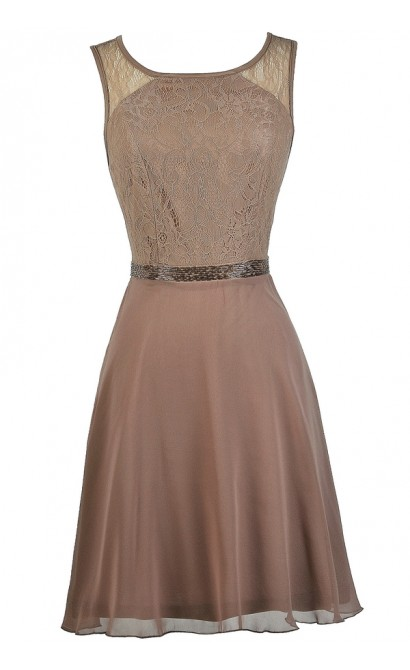 Mocha Bridesmaid Dress, Mocha Lace A-Line Dress, Cute Bridesmaid Dress, Mocha Party Dress, Brown Bridesmaid Dress