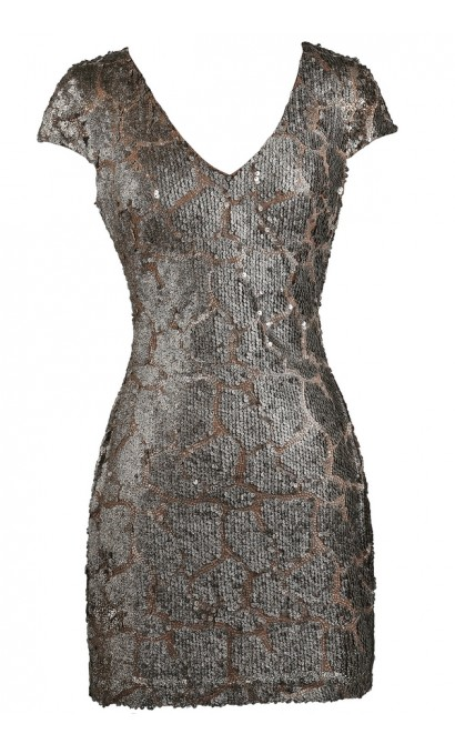 Bronze Mocha Embellished Sequin Dress, New Years Eve Party Dress ...