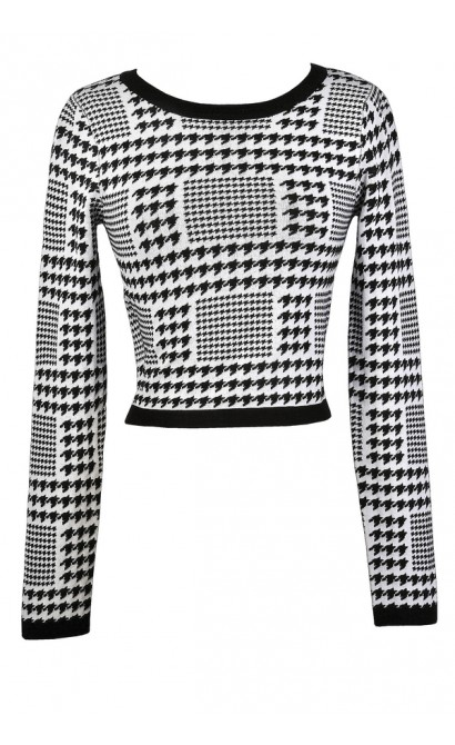 Black and Ivory Houndstooth Top, Cute Two Piece Outfit, Cute Fall Outfit