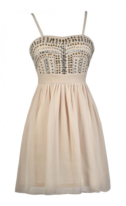 Beige Studded Dress, Beige Party Dress, Beige Cocktail Dress