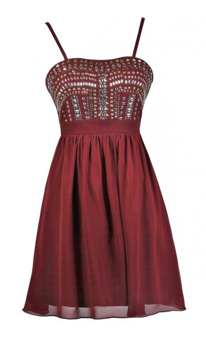 Burgundy Embellished Party Dress, Burgundy Stud Embellished Dress, Burgundy Cocktail Dress