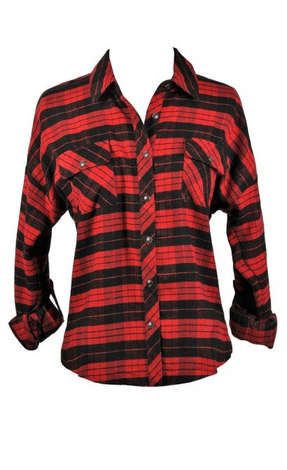 Red and Black Plaid Flannel, 90s Grunge Flannel Top, Red and Black Plaid Shirt