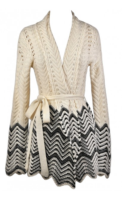 Black and Beige Chevron Sweater, Cute Winter Sweater, Black and Beige Cardigan Sweater