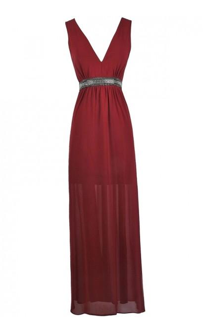 Burgundy Embellished Maxi Dress, Burgundy Red Prom Dress, Beaded Burgundy Red Formal Dress