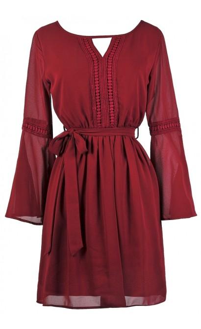Cute Burgundy Dress, Cute Fall Dress, Burgundy Bell Sleeve Hippie Dress