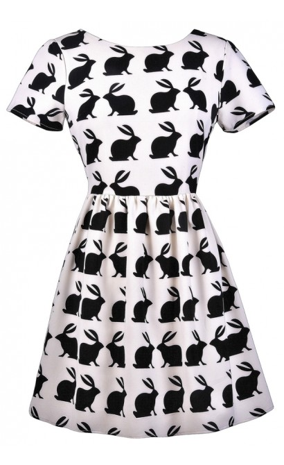 Bunny Print Dress, Black and White Bunny Print Dress, Cute Rabbit Print Dress, Bunny Silhouette Dress