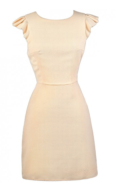 Beige Flutter Sleeve Dress, Beige Sheath Dress, Beige Cocktail Dress, Beige Party Dress
