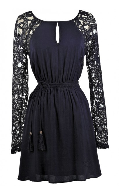 Cute Navy Dress, Cute Fall Dress, Navy Lace Sleeve Dress, Navy Sundress