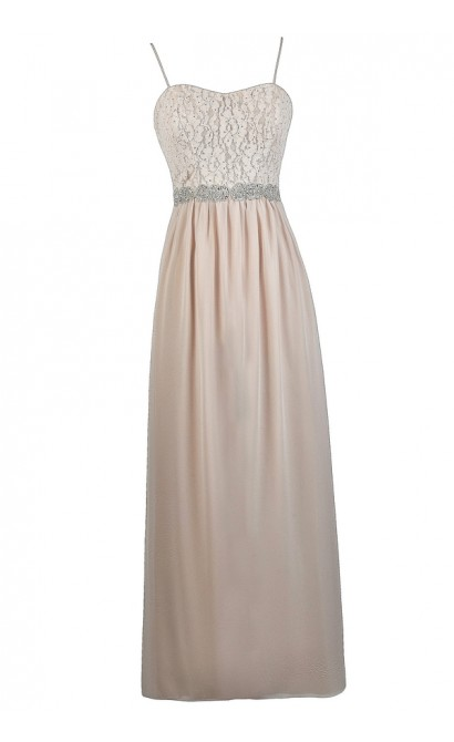 Cute Prom Dress, Embellished Maxi Dress, Cream Blush Maxi Dress, Lace Maxi Dress, Blush Pink Maxi Dress