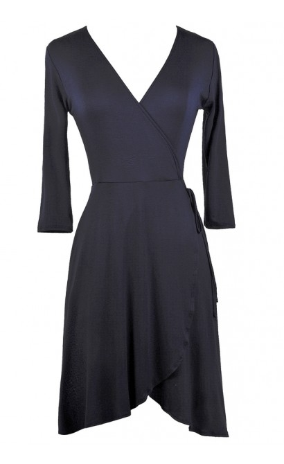 Cute Navy Dress, Navy Wrap Dress, Cute Fall Dress, Navy Summer Dress