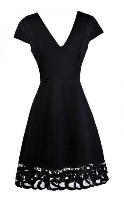Cute Black Dress, Little Black Dress, Black Capsleeve A-Line Dress, Black Party Dress, Black Lace Trim Dress