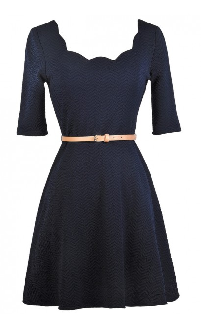 Navy A-Line Dress, Cute Navy Dress, Belted Navy Dress