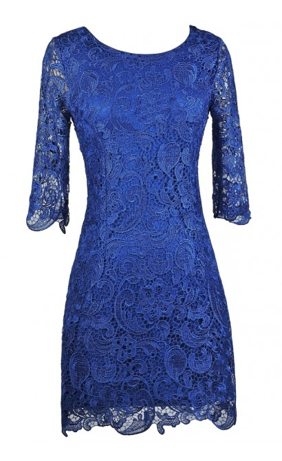 Royal Blue Lace Sheath Dress, Bright Blue Lace Dress, Blue Lace Cocktail Dress, Blue Lace Party Dress