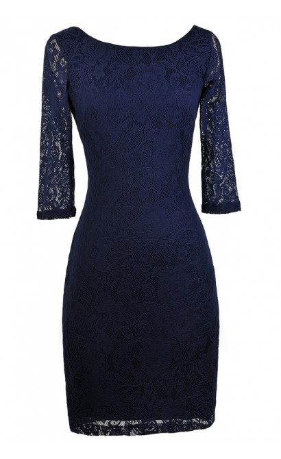 Navy Lace Bodycon Dress, Navy Lace Cocktail Dress, Navy lace Party Dress