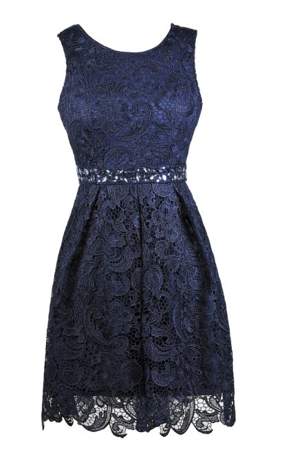 Navy lace Dress, Cute navy Dress, Navy Party Dress, Navy Lace A-Line Dress, Navy Bridesmaid Dress