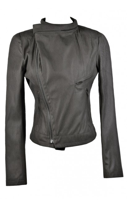 Cute Grey Fall Moto Jacket