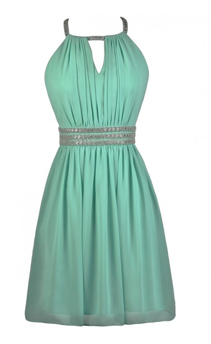 Beaded Mint Dress, Mint Party Dress, Mint Cocktail Dress, Mint Prom Dress