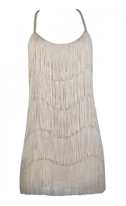 Beige Fringe Dress, Cute Party Dress, Roaring 20s Dress, Great Gatsby Dress