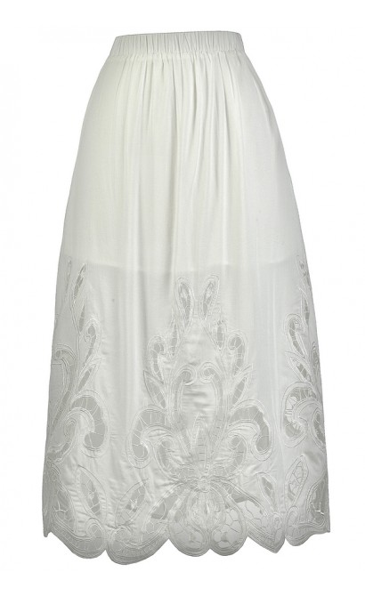 White Lasercut Midi Skirt, Cute White Skirt, Longer Length White Skirt