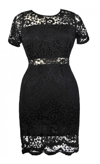 Black Lace Plus Size Cocktail Party Dress