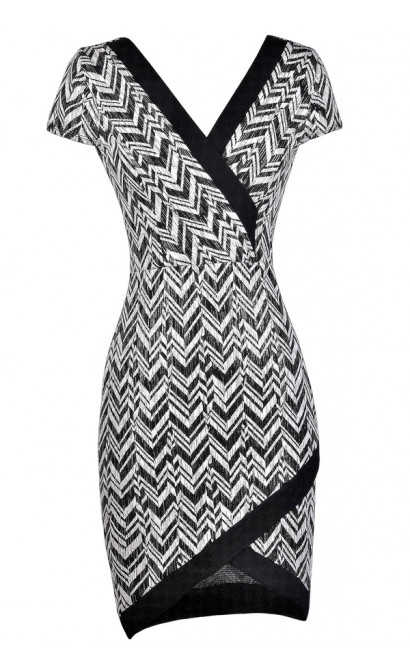 Cute Chevron Dress, Black and Ivory Chevron Dress, Crossover Hem Dress, Cute Party Dress