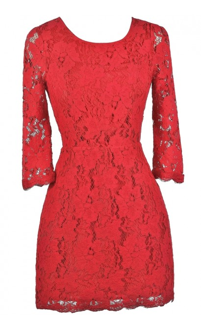 Cute Red Dress, Red Lace Dress, Red Lace Cocktail Dress, Red Lace Party Dress